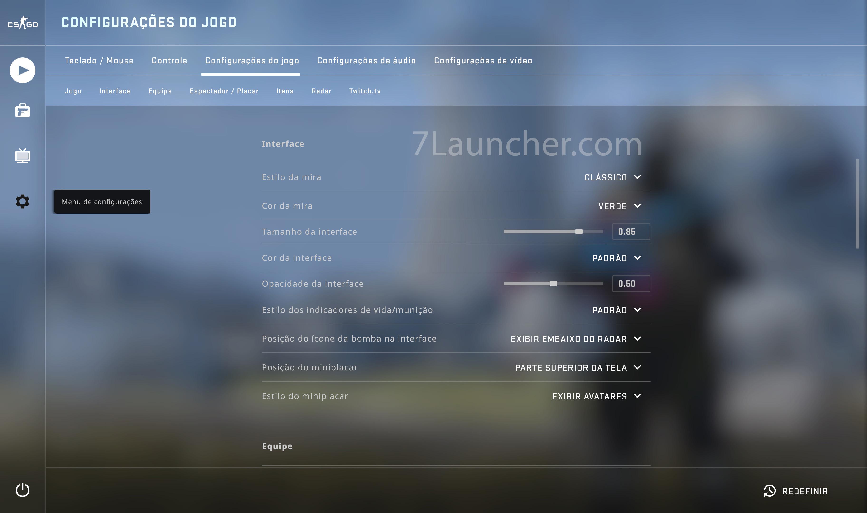 Configurando o crosshair no CS: GO através do menu do jogo